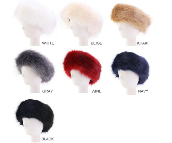 Bandanas Winter Fur Warm Headband Fox Fur Hat Faux Fur Head Warmer Women's Ear Warmer Earmuff Turban Hair Bands Hair Accessories