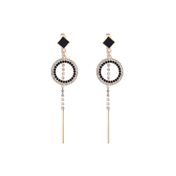 Hollow Circle Full Rhinestone Tassel Drop Earrings Japanese Korean Trendy Temperament Women Long Earrings Jewelry Pendientes