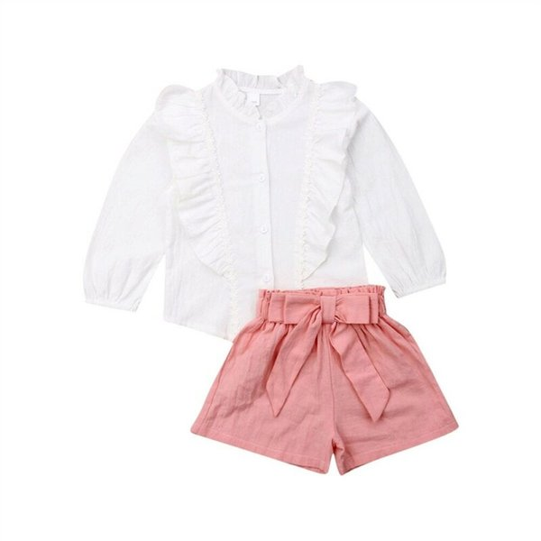 Adorable Toddler Kid Baby Girl Clothing Button Tops Long Sleeve Shirt Short Pants Outfit Clothes Summer Set