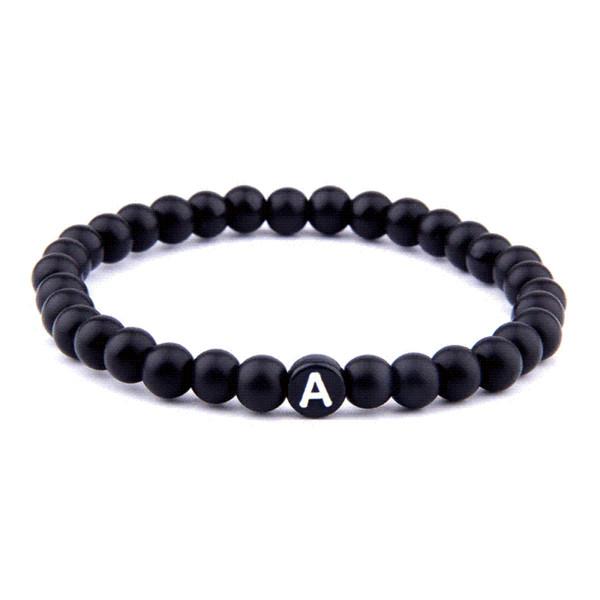Matte Natural Stone DIY 26 Bead Letters Bracelets for Women Men Fashion Jewelry Name Friendship Lucky Bracelet Kids Family Gift