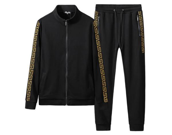 Outono inverno novo esporte bordado hoodie set masculino fitness adicionar gordura adicionar um código recreativo executar movimento solto defender roupas para instalar dois