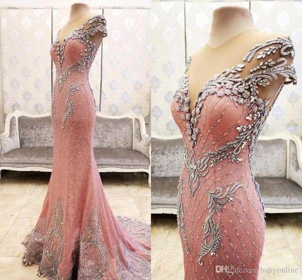 2019 Lüks Aplikler Boncuk Pembe Mermaid Abiye Örgün Cap Kollu Sheer Boyun Uzun Pageant Abiye Kırmızı Halı Balo Elbise BA2086