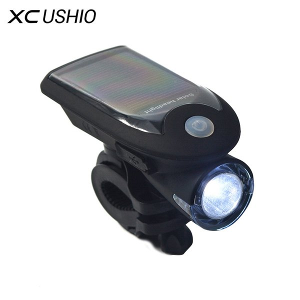 360 Degree Rotation Flashlight Waterproof Solar Bicycle Torch USB Charge Bike Cycling Front Headlight Bright Safety Warning #549808