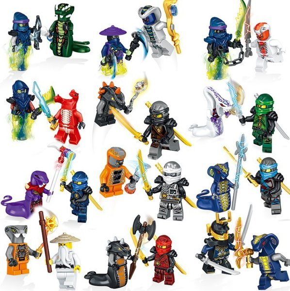 24pcs Ninja Mini Toy Action Figure Ghost Evil Ninja Pythor Chop'rai Mezmo Serpentine Army Building Block