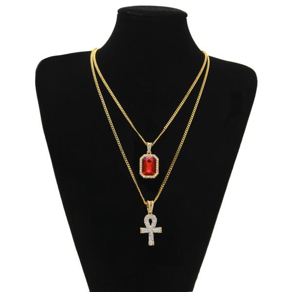 Egiziano Ankh Key of Life Bling Ciondolo con strass Croce con rubino rosso Collana Set Gioielli da uomo Hip Hop