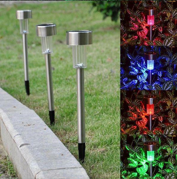 Umlight1688 Luces solares LED Luz de césped solar Jardín de acero inoxidable Lámpara de pasillo de luz solar al aire libre Lámpara de jardín al aire libre Energía solar Coloreada Solar