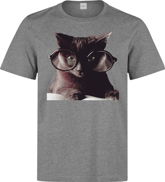 Cat Reading Book Glasses Hipster Style men's (woman's available) grey t shirt Tees Custom Jersey t shirt