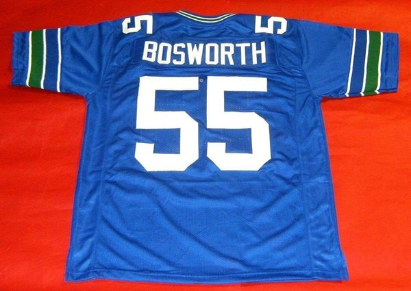 Cheap retro #55 BRIAN BOSWORTH Retro JERSEY THE BOZ White bule Mens Stitching Football jerseys Fat man Big And Tall 4XL 5XL 6XL For sale