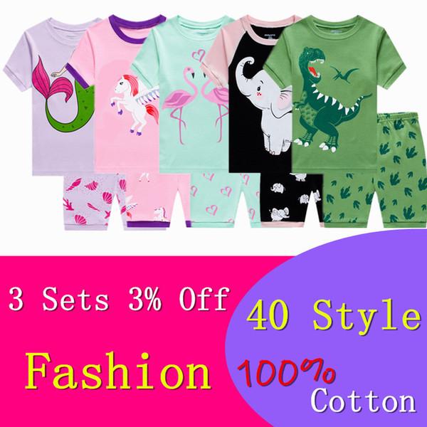Set di pigiami in cotone casual per bambini Set di pigiami per bambini per bambini Set di abbigliamento per la casa per bambini Pigiami per bambini Abiti corti per bambini 2-7Y