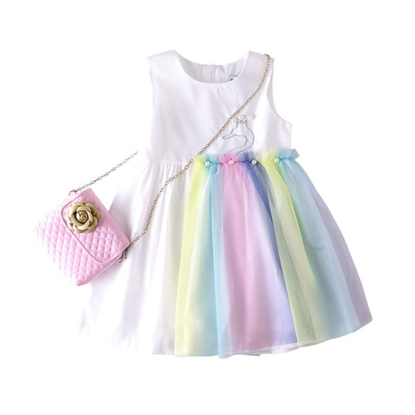 Girl Dresses Summer Lace Princess Sleeveless Dress Animal Printed Skirt Boutique Baby Clothes with Peal Rainbow Party Dresses GGA1935
