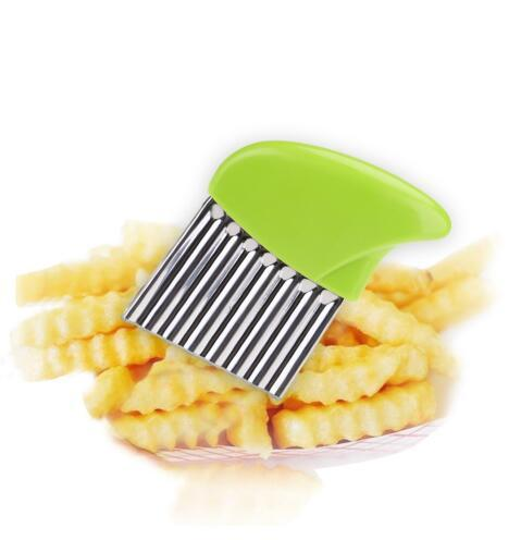 French Fries Cutter Stainless Steel Potato Chips Wavy Edged Cutter Knife Fruit Vegetable Slicers Shredders Kitchen Gadget