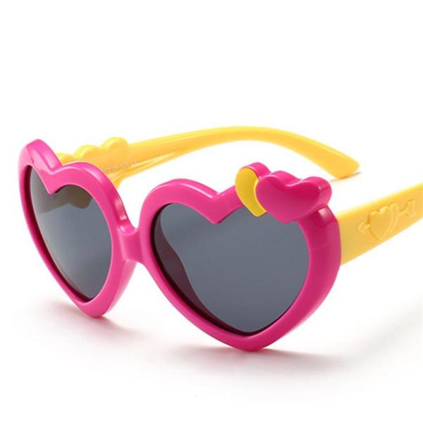 Fashion Children Polarized Light Sunglasses Cut Cartoon Eyeglasses Anti-UV Spectacles Goggle Kids Heart Sun Glasses A++ Free Shippig