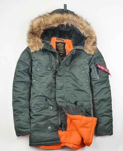 Brand N3B Men's Polar Winter clothes slim N-3B USA Flying Parka warm thermal Long Jacket Hooded fur collar Cotton Thick coat