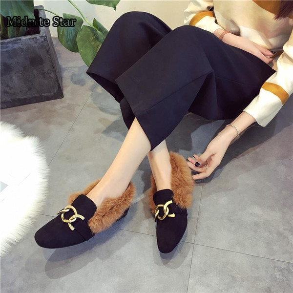 Shoes Winter Warm Fashion Metal Decoration Shoe Black Red Fur Flat Slip On Non-slip Kid Quality Leather New Hot