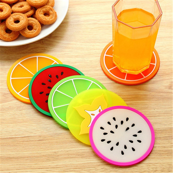 top popular Cup Mat Pads Promotional Cute Fruit Pattern Colorful Silicone Round Cup Cushion Holder Thick Drink Tableware Coaster Mug 2019