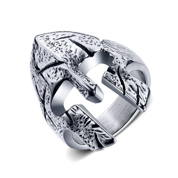 de los hombres clásicos retro anillo de acero de titanio máscara encanto del anillo del casco de la personalidad punky Spartan-3 GJ675