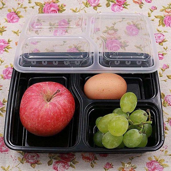 Marki 3 Scomparti Microonde Conservazione degli alimenti Contenitori monouso per alimenti Contenitori Coperchi Scatola Pranzo 2020 Scatola Vassoio con coperchio Controllo porzioni WN005