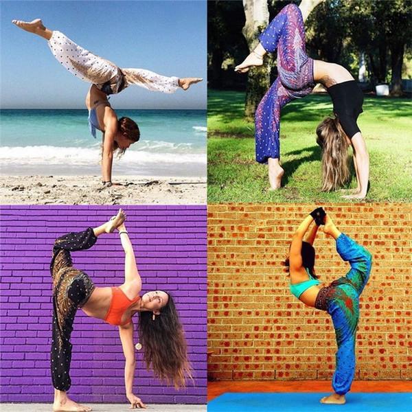 2018 mujeres pantalones de yoga suelta pierna ancha cintura alta tailandesa cómoda playa de yoga holgada gitana Harem pantalones pantalones ropa deportiva # 103733