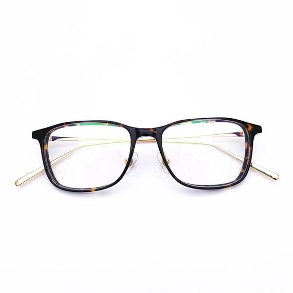 Brand Design Women Men Acetate with Metal vintage retro top quality optical frame spectacle frame optical Clear prescription Lenses 1008