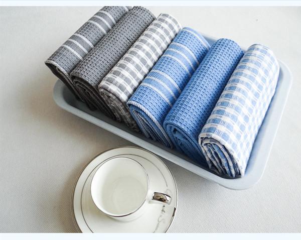 Di alta qualità 100% cotone panno plaid Pano de Prato ecologico asciugamano da cucina alla rinfusa asciugamano da tè lotti pad di pulizia 3 pz / set