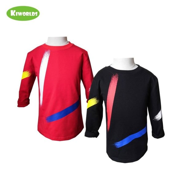 High Quality Spring Autumn Hot Sale Cotton Long Sleeve Boys Girls T-shirt ,with Black And Red Boy Comfortable Clothing Q190523