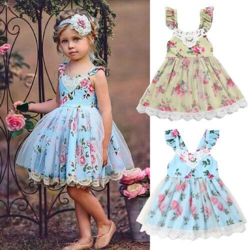 2019 été nouveau-né bébé Enfants fille Tout-petit Princesse Pageant robe de soirée Tutu dentelle Robe imprimé fleurs Robe pour les petits