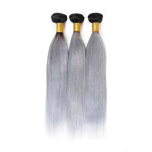 Красота Шелковый волос T1B / Серый Ombre Бразильский прямая волна Honey Blonde Ombre человеческих волос 3 Пучки волос Remy Weave Связки