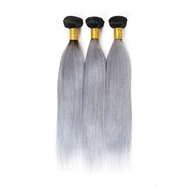 Schönheit Silk Haar T1B / Grau Ombre brasilianische gerade Welle Honey Blonde Ombre Menschenhaar-Verlängerungen 3 Bundles Remy Haar-Webart Bundles