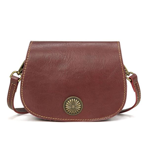 Retro Leather Handbags Fashion Handmade Ladies Shoulder Messenger Bag First Layer Leather Handbags Simple Design Saddle Bag