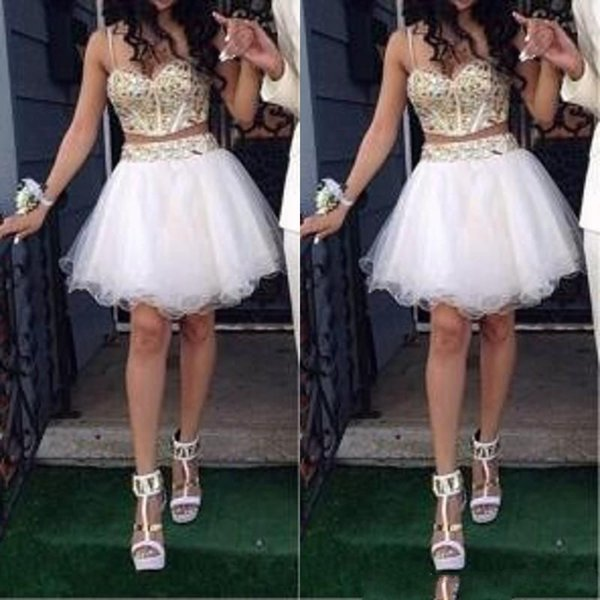 Stunning Two Piece Short Homecoming Dress Gold and White Luxury Gold Stones Spaghetti Straps Prom Gowns Custom Made High Quality