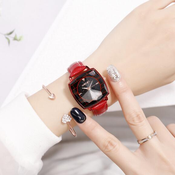 2019 new explosion style prismatic square dial drill simple fashion belt watch vibrating star watch mm1