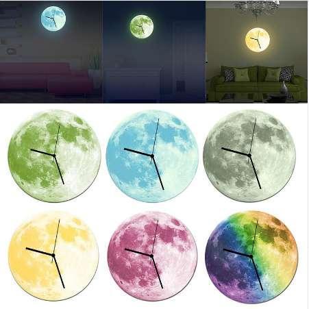 Relógios de parede Para Casa Decoração-Relógio de Parede Glowing Lua 3D DIY Agulha Luminosa Pendurado Relógio Sala de estar Quarto Decoração