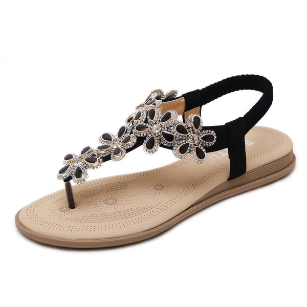 2019 New Summer Women Sandals Flat Bohemian Flowers Rhinestone Roman Flip Flops Gladiator Glitter Big Size Ladies Shoes