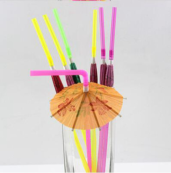 hot Paper Umbrella Cocktail Drinking Straws Picks Cocktail Sticks Wedding Event Holiday Party Supplies Bar Decorations Wholesale
