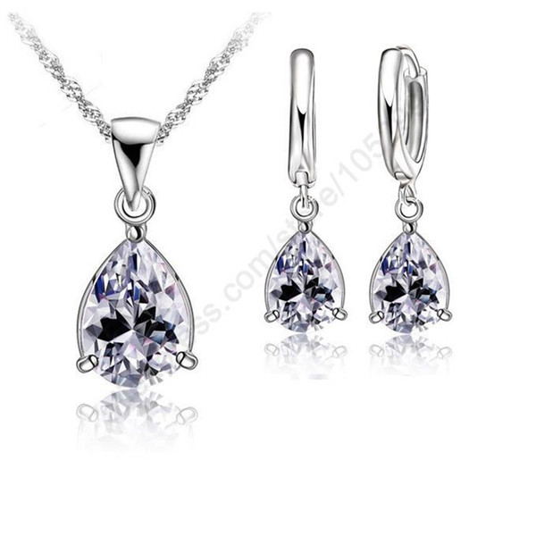 Бесплатная доставка комплект ювелирных изделий моды CZ ожерелье серьги комплект ювелирных изделий 18 дюймов Серебро 925 Цвет ожерелье Цепи