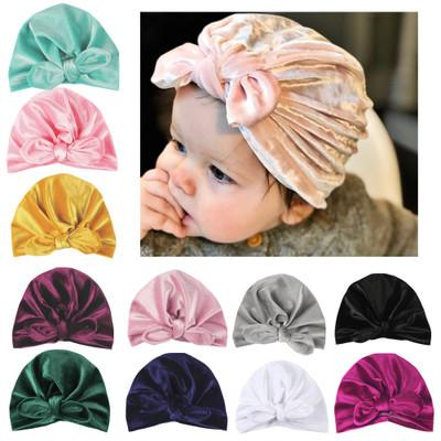 Chirdren Infant Baby cotton high quality fabric New Spring Velvet Hat Solid Color Crown Cap For Children Baby Girls Boys Beanies with Bowkno