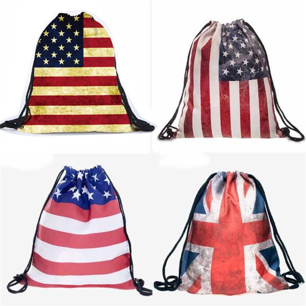 Echoshine British American Canadian Flag 3D Printing Backpacks Drawstring Backpack drawstring bag Beach School Shoes Bags A30