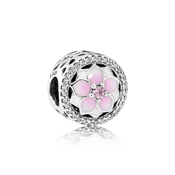 Rosa Esmalte flores Charme Jóias acessórios Logo Caixa Original para Pandora 925 Sterling Silver DIY Pulseira Fazendo Encantos