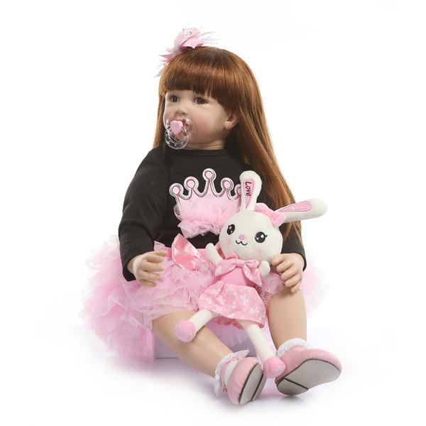 60cm Silicona Reborn Baby Doll Toys Like Real Vinyl Princess Toddler Babies Dolls Girls Bonecas Regalo de cumpleaños Play House