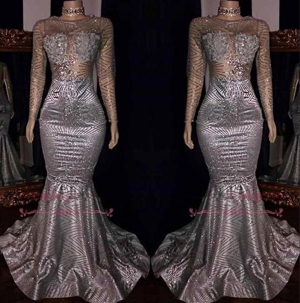 2019 maniche lunghe paillettes sirena lunghi prom dresses sheer spakling perline pavimento lunghezza abiti da sera partito formale BC1468