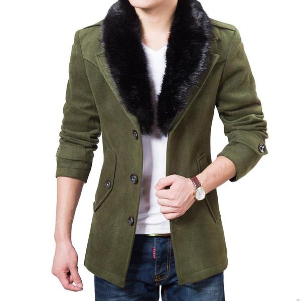 Uomini trincea cappotto di spessore di lana miscela soprabito caban caldi Mens sottile colletto in pelliccia sintetica cappotto di lana rosso nero blu