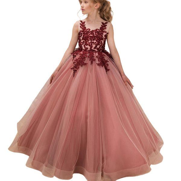 Compre 2019 Dama De Honor De Verano Para Niños Vestidos Para Niñas Ropa Para Niños Vestido De Fiesta De Niña Formal Boda Larga Princesa Vestido 3 10