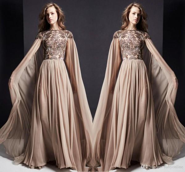 2020 Elie Saab Alta Costura vestidos de noche con una envoltura de una línea de cuello de la joya Apliques de la ilusión de la blusa largos Prom Vestidos Ropa Formal Vestidos
