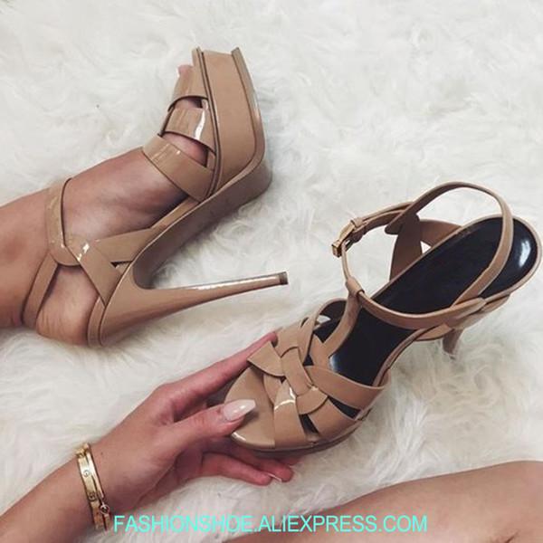 2018 New Tribute Platform Sandals Super High Heels Stiletto T Strap Sexy Ladies Party Wedding Shoes Summer Sandalias Mujer