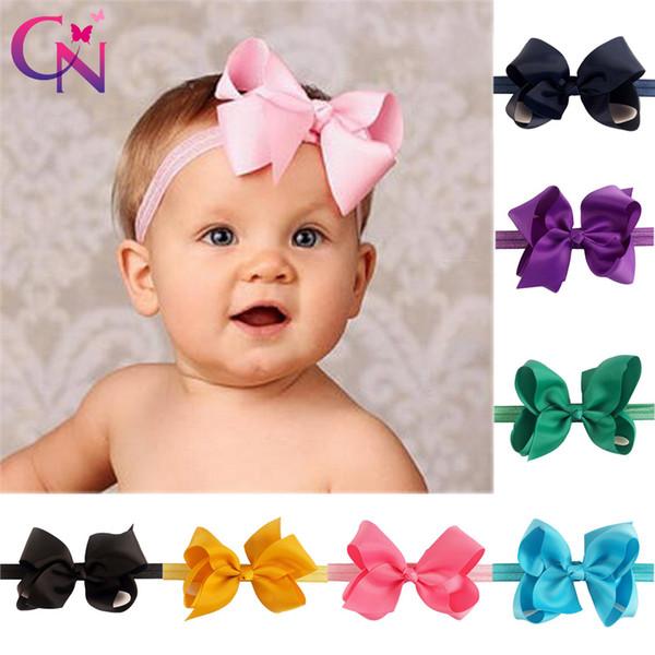 "24 Pcs/lot 4"" Plain Hair Bows Headbands For Girls Kids Handmade Elastic Knot Ribbon Bows Hair Bands Children Hair Accessories Y19052003"