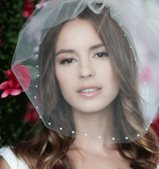 Ivory Bridal Birdcage Veils Pearls Blusher Tulle Net Short Wedding Veils with Comb Bride Hair Accessories 2019 Popular Veils
