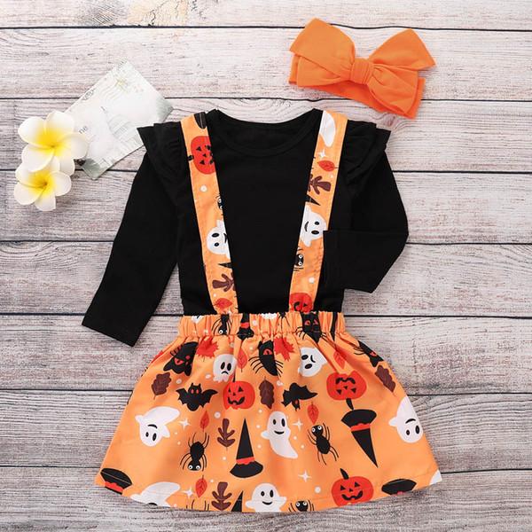Ins Halloween Baby Mädchen Anzüge Kinder Designer Kleidung Mädchen Outfits Kleinkind Mädchen Kleidung Langarm T-Shirt + Strumpf Rock + Stirnband A7263