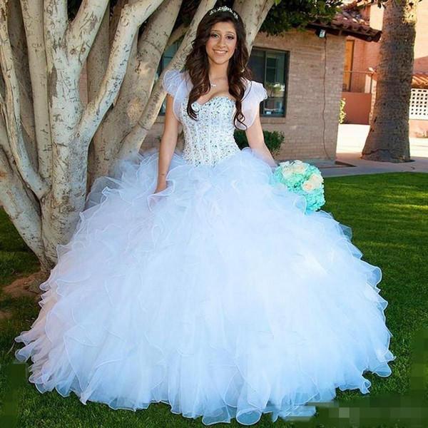 2019 белые рюши платья Quinceanera роскошные бисерные ремни сладкие 16 день рождения выпускного вечера бальное платье vestidos 15 15