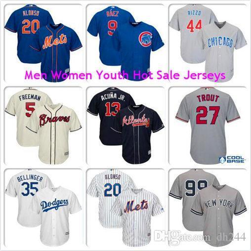 Mens Cody Bellinger Mike Trout Aaron giudice Javier Baez Anthony Rizzo Pete Alonso Los Angeles Dodgers Angeli raffreddare kit Maglia base baseball