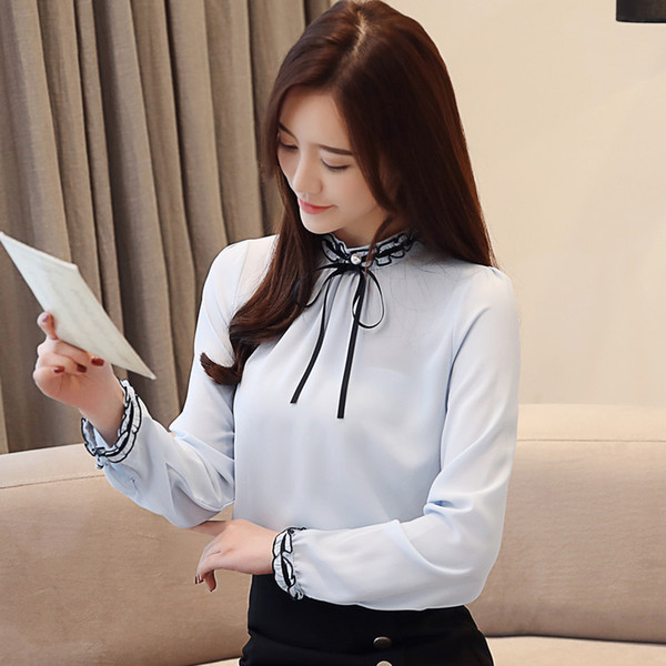 2019 Spring New Women's Tops and Blouses Elegant Bow Chiffon Shirt Sweet Petal Sleeve Pure Color Shirts O-neck Long Sleeve Blusas